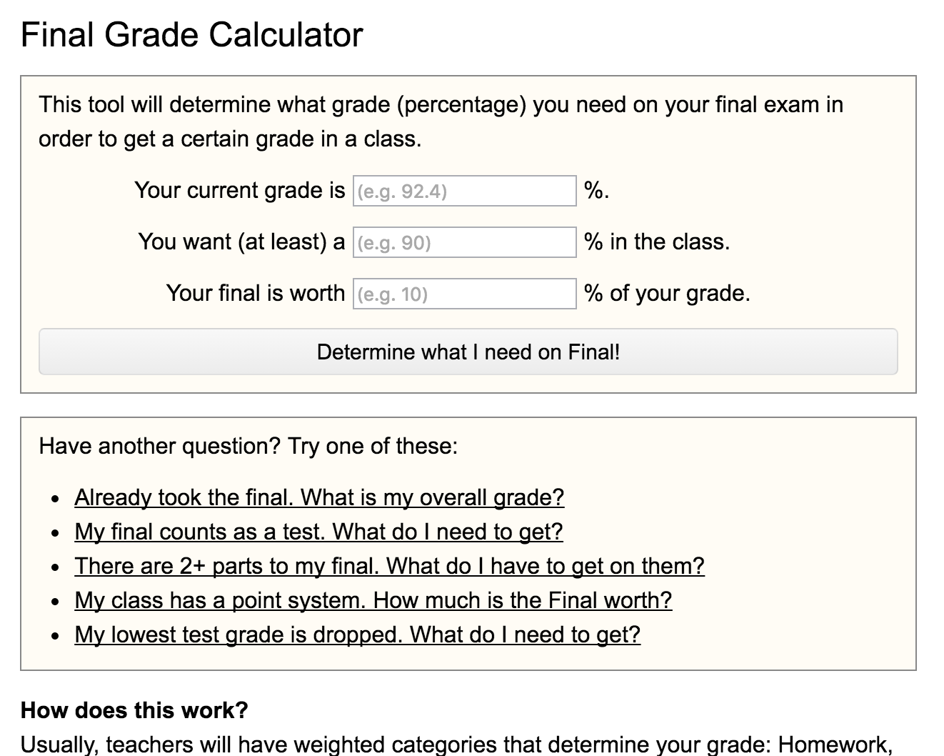 Final Grade Calculator Preview