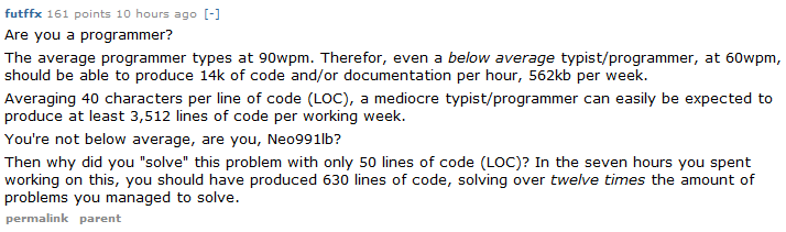 If you're coding at 90wpm, either you are genius or your code is worth less than my pee.