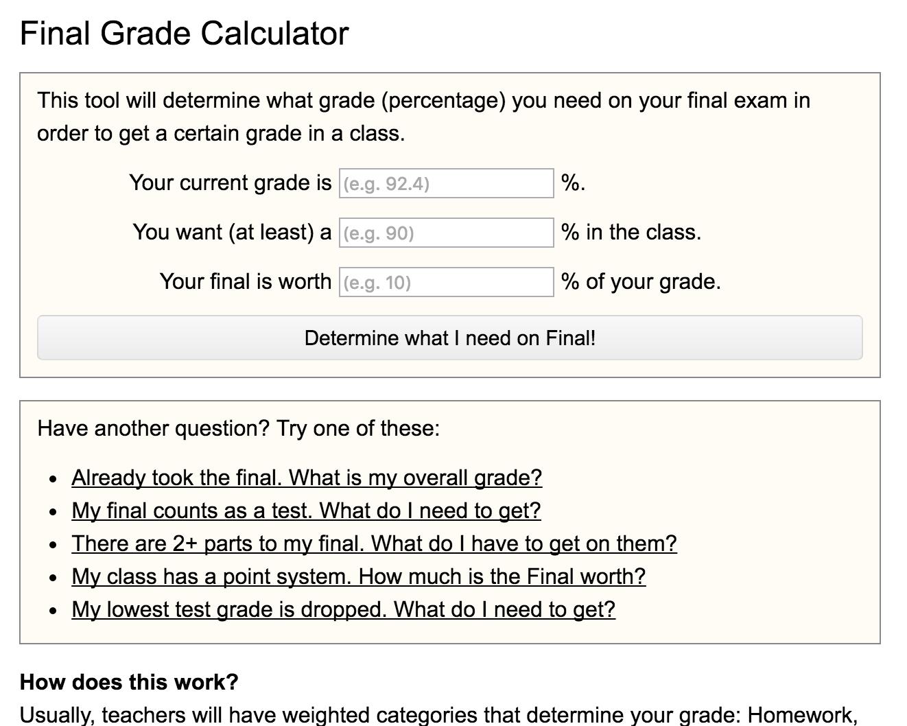 Final Grade Calculator Preview